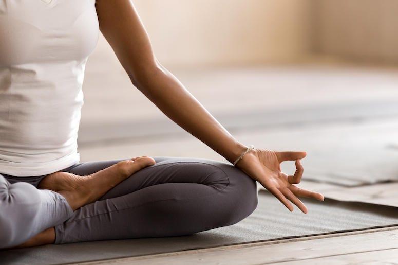Yoga, Yogi, Pose, Woman, Sitting, Mat, Floor, Indoors