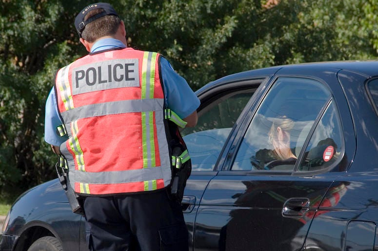 Police, Car, Pulled Over, Speeding Ticket