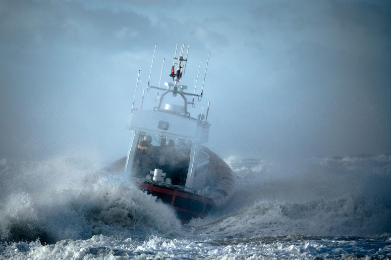 Coast Guard, Ship, Storm, Ocean