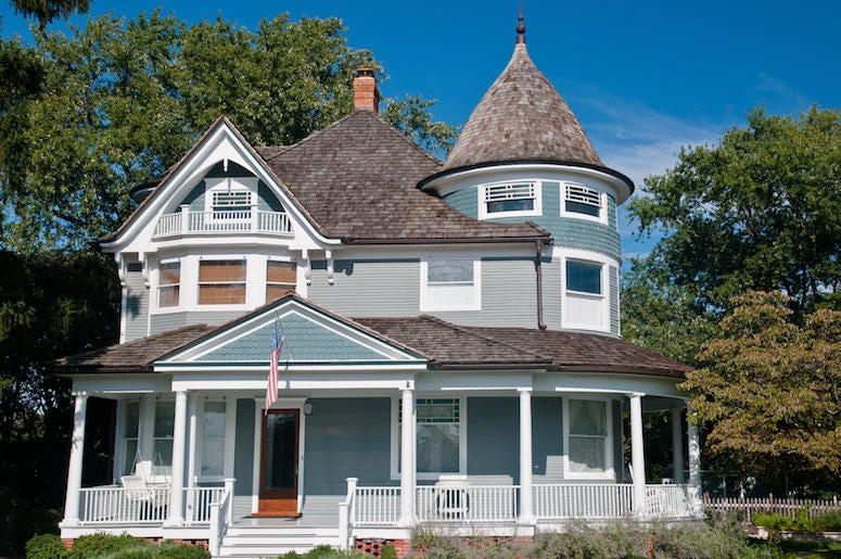 Victorian Home, House, Porch, American Flag, Garden