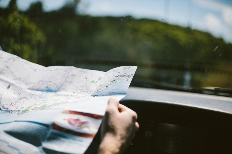 Looking at a map