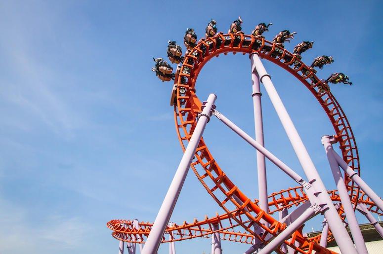 Roller Coaster, Blue Sky, Orange, People Riding, Loop