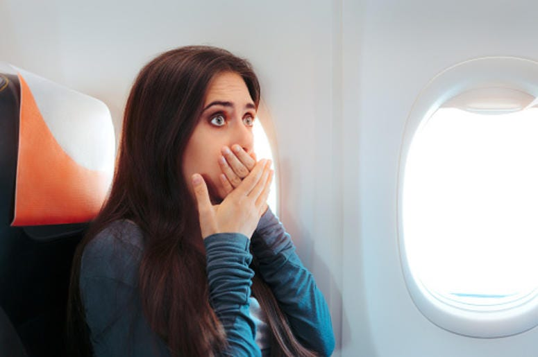 Person Surprised on a plane