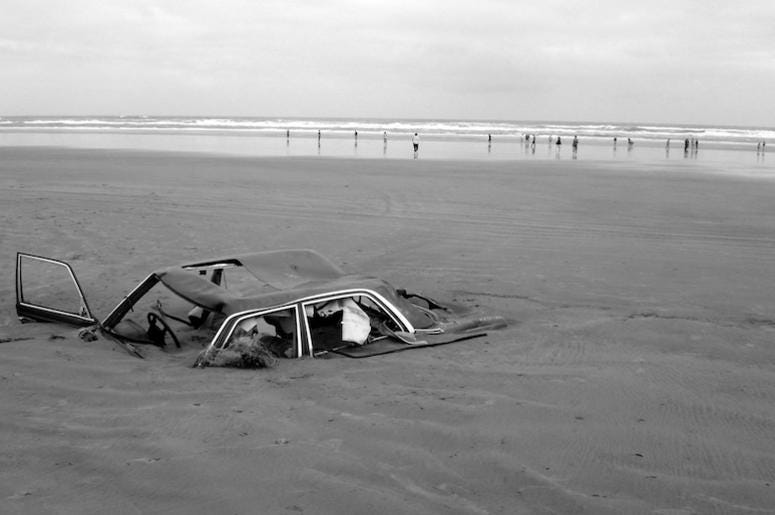 Car, Buried, Sand, Beach, Black and White