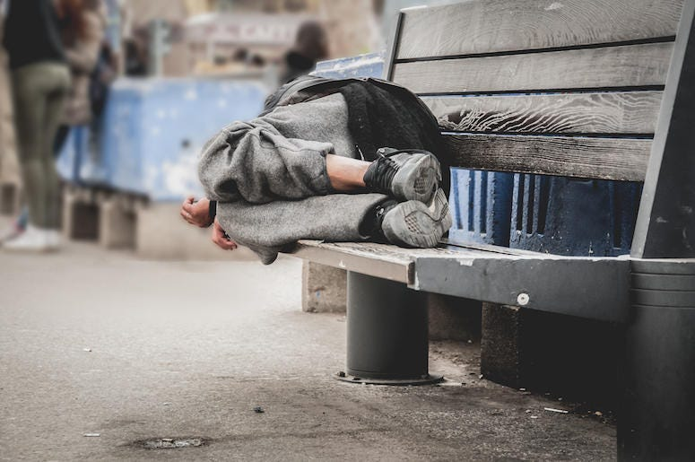 Homeless Man, Sleeping, Wooden Bench