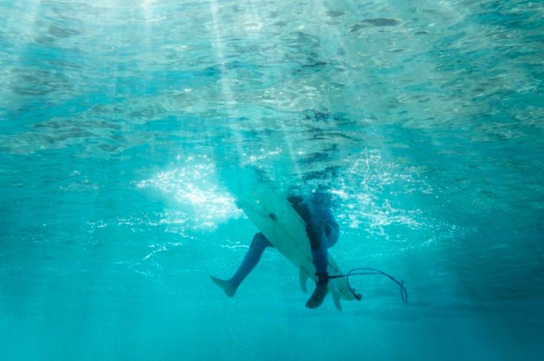 Surfer, Legs, Surfboard, Underwater, Ocean