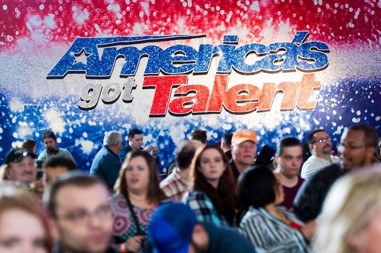 America's Got Talent, People, Line, Audition, Holding Room, Blurry, Logo