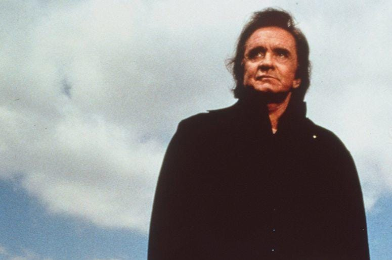Johnny Cash, Man In Black, Pose, Sky, Clouds, Outdoors