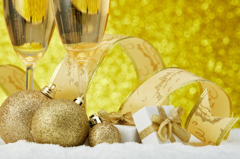 Champagne and Christmas ornaments
