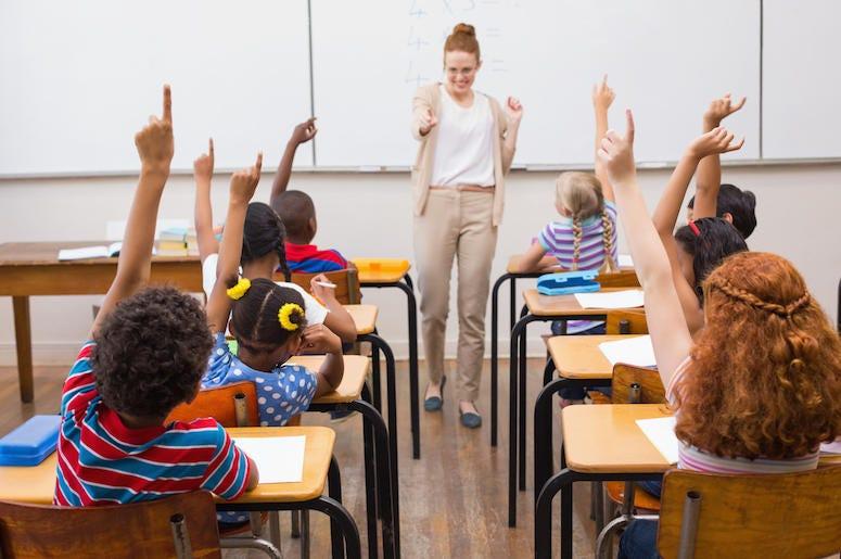 Teacher, Students, Hands Raised, Classroom, Math Class, School