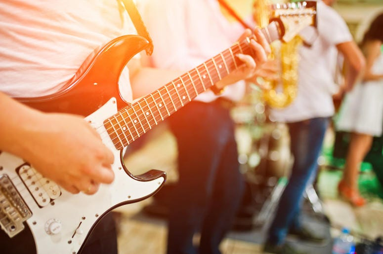 Man, Playing, Music, Live, Electric Guitar, Band, Foreground, Sunset