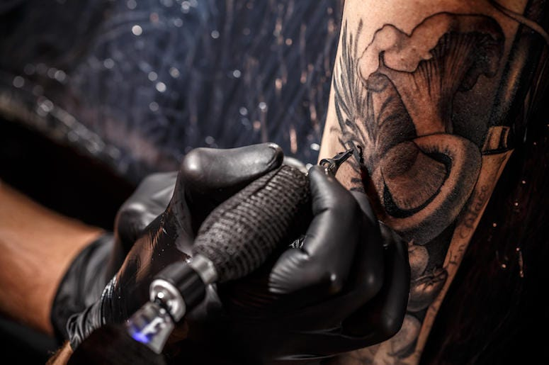 Tattoo, Artist, Gun, Black Gloves, Mushroom, Arm