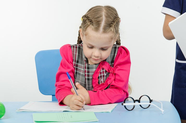Girl, First Grade, Student, Writing