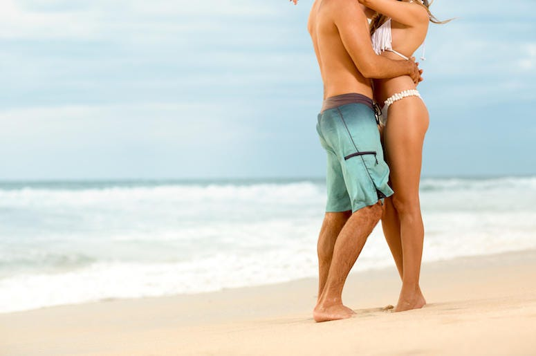 Attractive Couple, Beach, Swimsuits, Hugging, Legs
