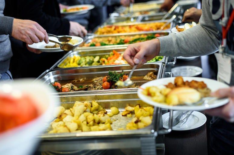 Buffet, Food, Metallic Trays