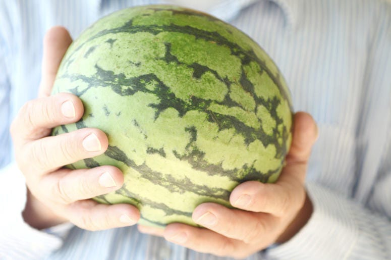 A man holding a small watermelon with both hands