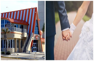 (Left)  Whataburger, bride and groom holding hands (Right)