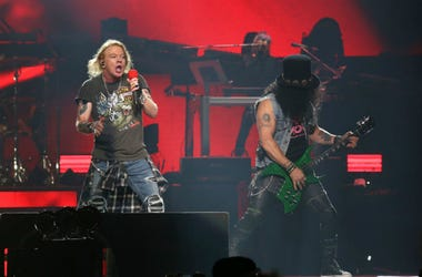 Axl Rose and Slash of Guns N' Roses perform in concert at Madison Square Garden in New York.
