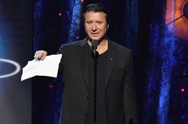 Steve Perry of Journey speaks onstage at the 32nd Annual Rock & Roll Hall Of Fame Induction Ceremony