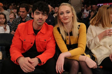 Mar 9, 2019; New York, NY, USA; American musician Joe Jonas (left) sits with British actress Sophie Turner during the first quarter between the New York Knicks and the Sacramento Kings at Madison Square Garden. Mandatory Credit: Brad Penner-USA TODAY Spor
