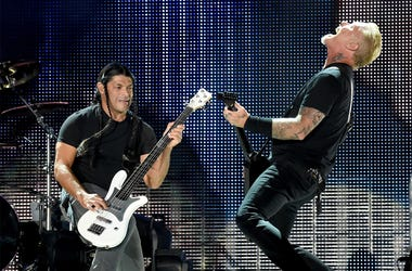 Musicians Robert Trujillo (L) and James Hetfield of Metallica perform onstage at the Rose Bowl on July 29, 2017 in Pasadena, California. (Photo by Kevin Winter/Getty Images)