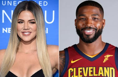 This combination photo shows television personality Khloe Kardashian at the NBCUniversal Network 2017 Upfront at Radio City Music Hall in New York on May 15, 2017, left, and Cleveland Cavaliers' Tristan Thompson at the NBA basketball team media day in Ind