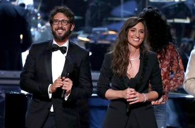 Co-hosts Josh Groban, left, and Sara Bareilles appear on stage at the 72nd annual Tony Awards at Radio City Music Hall on Sunday, June 10, 2018, in New York.
