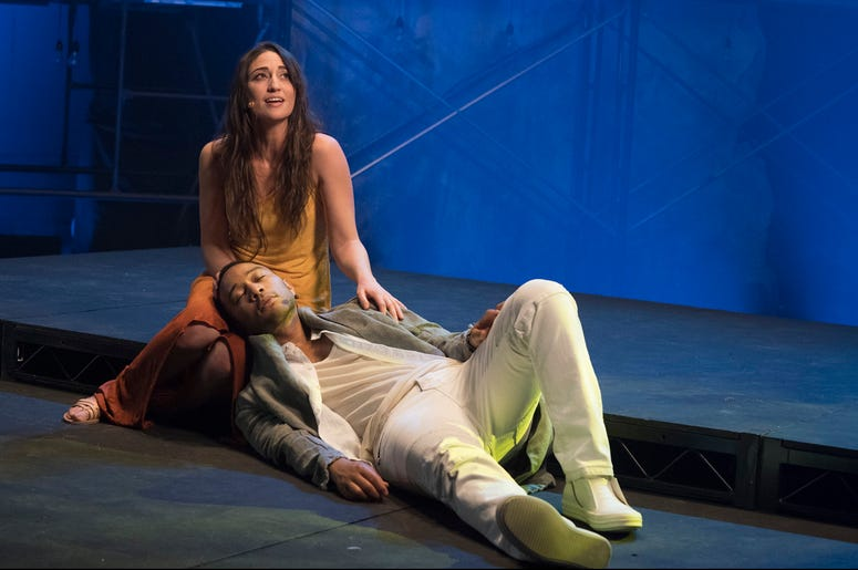 """This image released by NBC shows, John Legend as Jesus Christ, and Sara Bareilles as Mary Magdalene from the NBC production, """"Jesus Christ Superstar Live In Concert."""" The musical was nominated for an Emmy for outstanding variety special. (Virginia Sherwoo"""