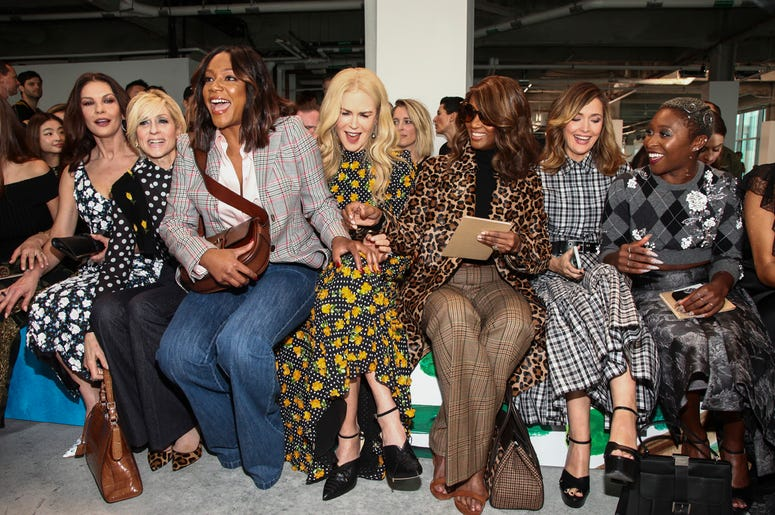 Catherine Zeta-Jones, from left, Judith Light, Tiffany Haddish, Nicole Kidman Iman, Rose Byrne and Cynthia Erivo attend the NYFW Spring/Summer 2019 Michael Kors fashion show at Pier 17 on Wednesday, Sept. 12, 2018, in New York. (Photo by Andy Kropa/Invisi