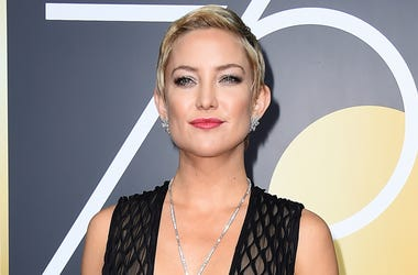 In this Jan. 7, 2018 file photo, actress Kate Hudson arrives at the Golden Globe Awards in Beverly Hills, Calif. Hudson announced Wednesday on her Instagram account that her daughter, Rani Rose Hudson Fujikawa, was born Tuesday, Oct. 2. (Photo by Jordan S