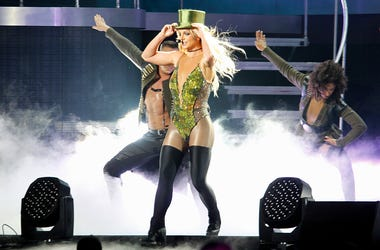 In this June 13, 2017, file photo, singer Britney Spears sings during her concert in Taipei, Taiwan. MGM Resorts International on Friday said the pop superstar in February, 2019, will kick off a series of regularly scheduled shows at Park Theater inside t