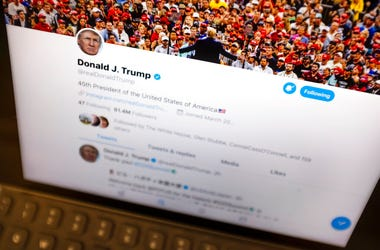 Donald Trump's Twitter feed is photographed on an Apple iPad