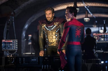 "This image released by Sony Pictures shows Jake Gyllenhaal, left, and Tom Holland in a scene from ""Spider-Man: Far From Home."" (Jay Maidment/Columbia Pictures/Sony via AP)"