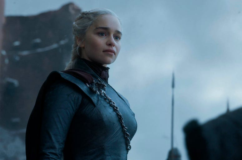 """This image released by HBO shows Emilia Clarke in a scene from the final episode of """"Game of Thrones."""" On Tuesday, July 16, 2019, Clarke was nominated for an Emmy Award for outstanding lead actress in a drama series. (HBO via AP)"""