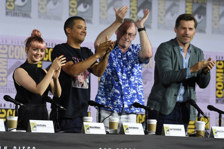 "Maisie Williams, from left, Jacob Anderson, Liam Cunningham and Nikolaj Coster-Waldau clap at the conclusion of the ""Game of Thrones"" panel on day two of Comic-Con International on Friday, July 19, 2019, in San Diego. (Photo by Chris Pizzello/Invision/AP)"