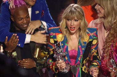 "Taylor Swift accepts the video of the year award for ""You Need to Calm Down"" at the MTV Video Music Awards at the Prudential Center on Monday, Aug. 26. (Photo by Matt Sayles/Invision/AP)"