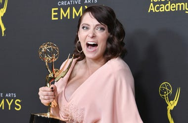 """Rachel Bloom poses in the press room with the award for outstanding original music and lyrics for """"Crazy Ex Girlfriend"""" on night one of the Creative Arts Emmy Awards on Saturday, Sept. 14, 2019, at the Microsoft Theater in Los Angeles. (Photo by Richard S"""