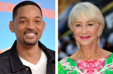 """This combination photo shows Will Smith at the Nickelodeon Kids' Choice Awards in Los Angeles on March 23, 2019, left, and Helen Mirren at a special screening of """"Fast & Furious: Hobbs & Shaw,"""" in London on July 23, 2019. (AP Photo)"""