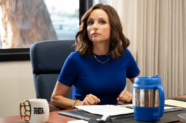 """This image released by HBO shows Julia Louis-Dreyfus in a scene from """"Veep."""" The program iss nominated for an Emmy Award for outstanding comedy series. Louis-Dreyfus is also nominated for best actress in a comedy series. (HBO via AP)"""