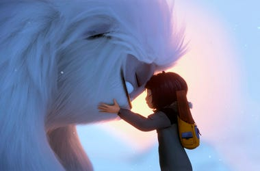 "This image released by DreamWorks Animation shows Everest the Yeti, left, and Yi, voiced by Chloe Bennet, in a scene from ""Abominable,"" in theaters on Sept. 27. (DreamWorks Animation LLC. via AP)"