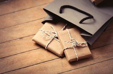Gifts and bag. Presents, pleasant.