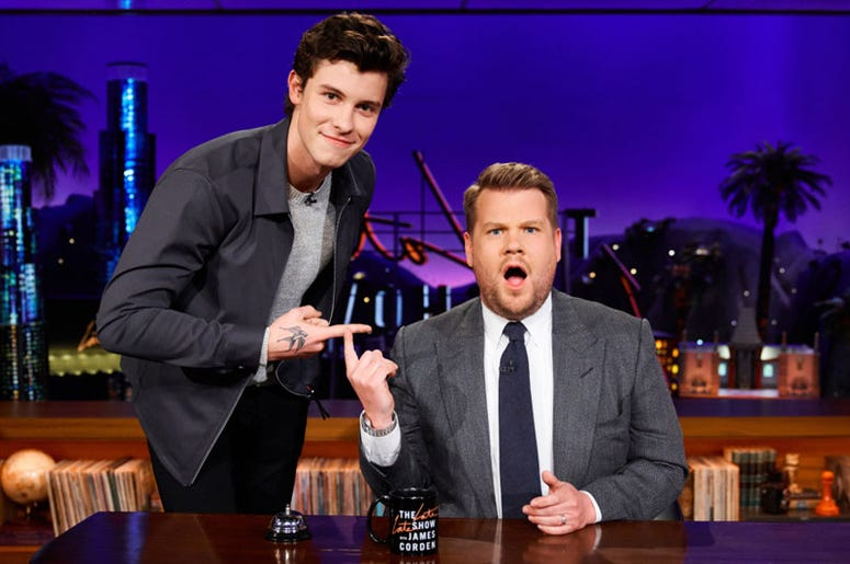 Shawn Mendes and James Corden