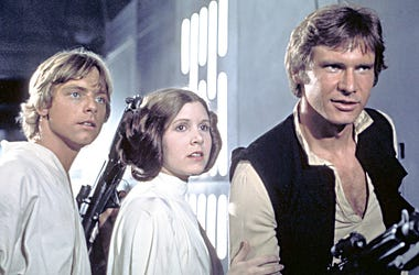 """Mark Hamill, Carrie Fisher and Harrison Ford in """"Star Wars: A New Hope"""""""