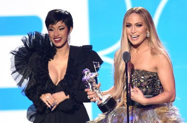 NEW YORK, NY - AUGUST 20: Cardi B, Jennifer Lopez, and DJ Khaled (not pictured) accept the award for Best Collaboration onstage during the 2018 MTV Video Music Awards at Radio City Music Hall on August 20, 2018 in New York City. (Photo by Michael Loccisan