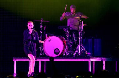 LOS ANGELES, CA - DECEMBER 12: Singer Halsey (L) and drummer Josh Dun of Twenty One Pilots perform onstage during 106.7 KROQ Almost Acoustic Christmas 2015 at The Forum on December 12, 2015 in Los Angeles, California. (Photo by Kevin Winter/Getty Images f