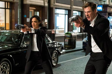 "Tessa Thompson and Chris Hemsworth in a scene from Columbia Pictures' ""Men in Black: International."""