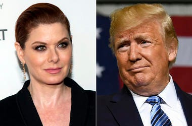 This combination photo shows actress Debra Messing during the 2019 Tribeca Film Festival in New York on May 2, 2019, left, and President Donald Trump during a visit to Shell's soon-to-be completed Pennsylvania Petrochemicals Complex in Monaca, Pa.