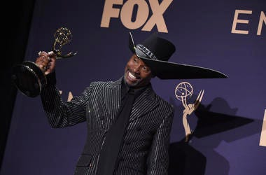 """Billy Porter, winner of the award for outstanding lead actor in a drama series for """"Pose,"""" poses in the press room at the 71st Primetime Emmy Awards on Sunday, Sept. 22, 2019, at the Microsoft Theater in Los Angeles. (Photo by Jordan Strauss/Invision/AP)"""
