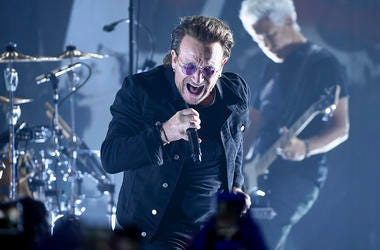 In this June 11, 2018 file photo, Bono of U2 performs during a concert at the Apollo Theater in New York. (Photo by Evan Agostini/Invision/AP, File)
