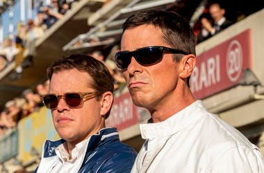 "Christian Bale, right, and Matt Damon in a scene from the film, ""Ford v. Ferrari"" (Photo credit: Merrick Morton/20th Century Fox)"